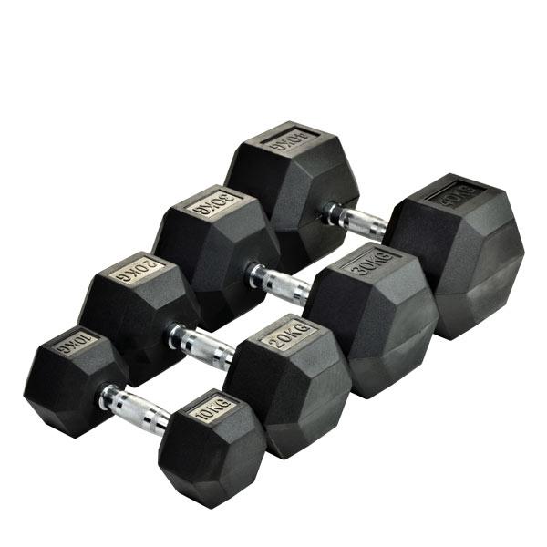Шестигранные гантели Rising Rubber Hexagon Dumbbell 50-80 кг