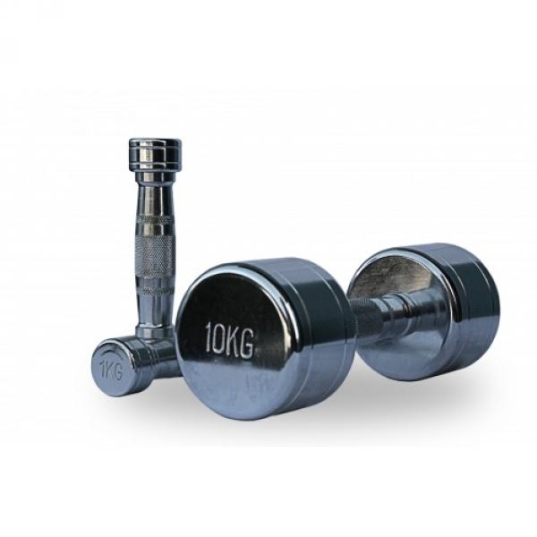Гантельный ряд хромированный 10 пар 1-10 кг (D-04)
