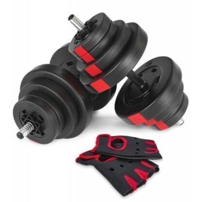 Гантели композитные Hop-Sport 2х20 кг PRO с перчатками (2 пары)