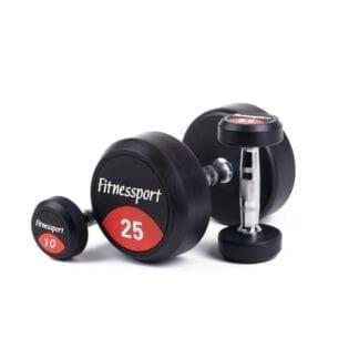 Обрезиненный гантельный ряд от 10 до 25 кг (7 пар) Fitnessport FDS-10 10/25kg