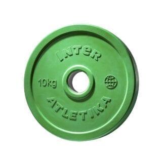 Диск обрезиненный цветной InterAtletika 10 кг (LCA032)