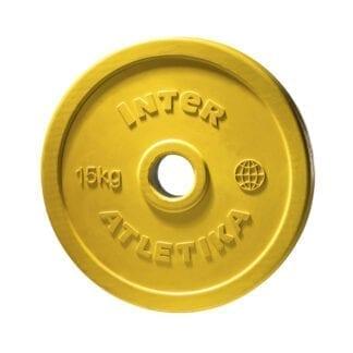 Диск обрезиненный цветной InterAtletika 15 кг (LCA033)