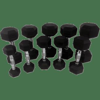 Гантельный ряд Tunturi Rubber Dumbbells Set 1-10 kg (10 пар) 14TUSCL180