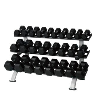 Гантельный ряд из прорезиненных гексогональных гантелей Stein 1-10 кг (10 пар)