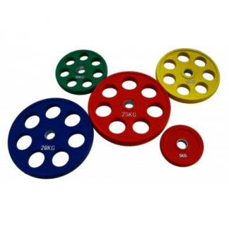 Диск олимпийский обрезиненный цветной 15 кг Fitnessport RCP19-15